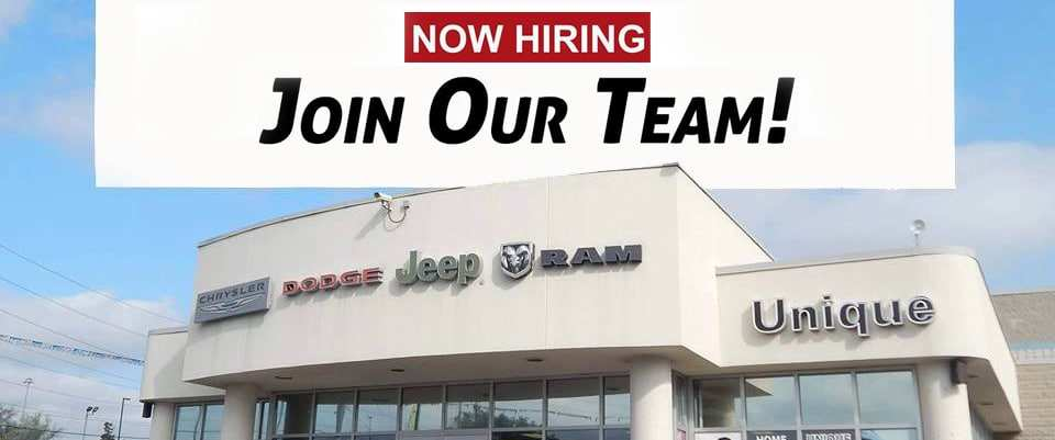 Unique Chrysler always has career opportunities, apply online today